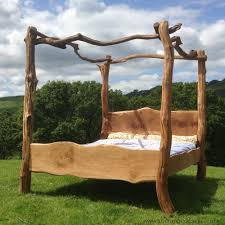 Rustic Wooden Beds Rustic Oak Four Poster Tree Bed Beautiful Chunky Wooden Bed Frame