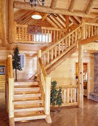 Open Floor Plans Log Homes Open Staircase With Wood Treads And Risers Shaped Log Home