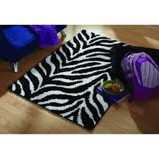 Black And White Zebra Area Rug Your Zone Zebra Shag Olefin Rug Black And White Walmart Com