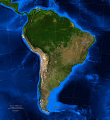 South America Rivers Map by South America Satellite Image Giclee Print Topography U0026 Bathymetry