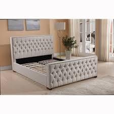 Bed Frames Au Size Upholstered Beige Linen Fabric Bed Frame Royal