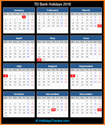 td bank holidays 2016 holidays tracker