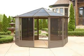 Wooden Pergolas For Sale by Exterior Design Vintage Hardtop Gazebo With Brown Curtains And