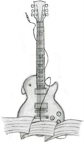 drawn guitar designed pencil and in color drawn guitar designed