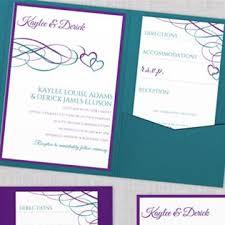 beloved hearts pocket wedding invitation template purple u0026 jade