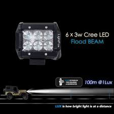 jeep light bar at night amazon com lightfox 2pcs 4inch 18w flood cree led light bar