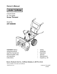 craftsman 247 886640 24 inch snow blower owners manual