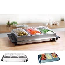 stainless steel 3 pan buffet food warmer server plate
