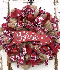 burlap christmas wreath on deco mesh wreaths home what s new rustic believe