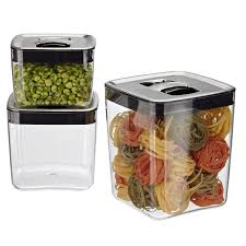 Large Kitchen Canisters Click Clack Cubes With Stainless Lids The Container Store