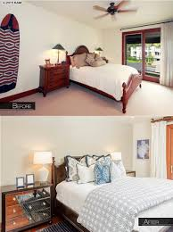 before and after of our interior design for a beachy bedroom in a