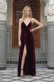 popular velvet prom dress spaghetti straps front slit prom dress