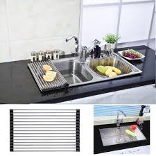 Amazon Com Interdesign Gia Kitchen Sink Protector Wire Grid Mat by Amazon Com Anseahawk Roll Up Dish Rack Multi Purpose Larger