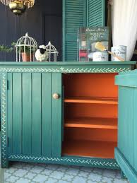 Annie Sloan Chalk Paint On Kitchen Cabinets A Pop Of Barcelona Orange Chalk Paint On A Painted Cupboard By