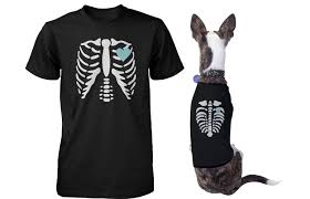 skeleton matching pet and owner t shirts for halloween dog and human a
