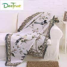 jeter un canapé coton en europe couleur oiseau fleur épaissir couverture de mode