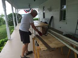 creating bench storage from salvaged beadboard old town home