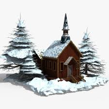 snow covered wood house 3d cgtrader