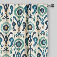 Green And Blue Curtains Indigo Ikat Concealed Tab Top Curtains Set Of 2 World Market