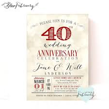 what is 40th wedding anniversary templates 40th ruby wedding anniversary invitations as well as