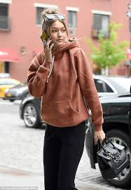 online make up school gigi hadid goes make up free in casual look during new york errand