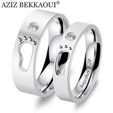 baby name rings images Aziz bekkaoui diy engrave name couple rings baby feet stainless jpg