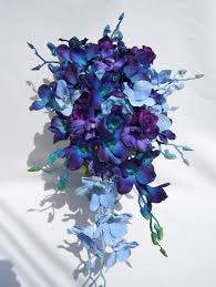 blue and purple orchids diana s silk cascade bridal bouquet with blue and purple
