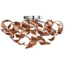 Flush Ceiling Lighting by Lyndsay 3 Light Semi Flush Ceiling Fixture Copper Pagazzi Lighting