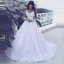 robe blanche mariage sleeve wedding dress appliques white lace bridal gown sweep