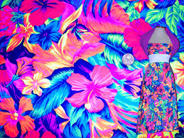 Floral Prints by Neon Floral Print Fabric Neon Print Stretch Fabric Four Way