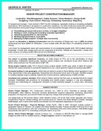 Resume Samples Project Manager by Sample Resume Project Manager Construction