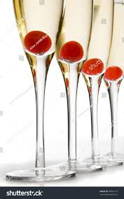 martini glasses clinking line cherry champagne cocktails over white stock photo 40834114