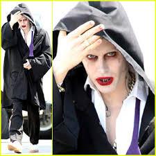 jared leto sports full joker makeup but hides costume on squad set
