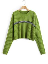 green sweater oversized cropped stripes panel sweater green sweaters one size