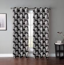 Black And Gray Curtains Pair Of Atlantis Window Curtain Panels W Grommets Ebay