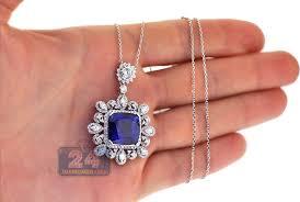 sapphire necklace with diamonds images Womens blue sapphire diamond pendant necklace 18k gold 18 33 ct jpg