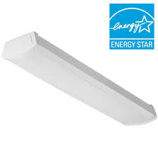 Lithonia Fluorescent Light Fixtures Lithonia Lighting 40 Watt 4 Ft White Integrated Led Flushmount