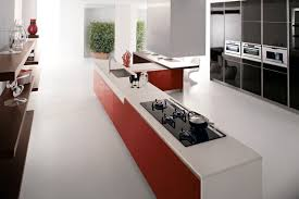 red kitchen units white corian worktop interior design ideas