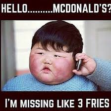 Funny Hello Meme - missing 3 fries funny pictures quotes memes funny images