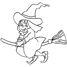 halloween little witch coloring page for kid to print