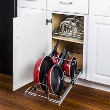 kitchen cabinet drawer peg organizer pots and pans pullout organizer for 15 base cabinet mppo215 r