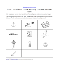 pirate cut paste picture dictionary short book print