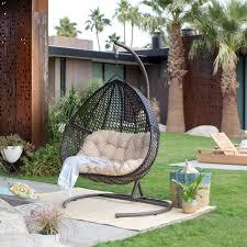 island bay resin wicker blanca hanging egg chair with cushion