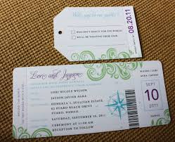 turquoise purple and green travel themed boarding pass wedding