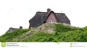 house with thatched roof on the island of sylt germany stock