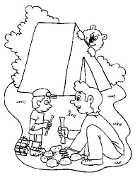 father teach son campfire camping coloring