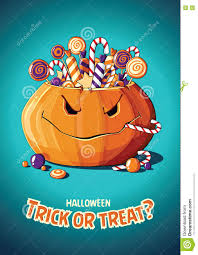 halloween vintage vector poster trick or treat pumpkin and candy