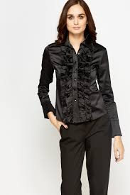 black button up blouse frill front button up blouse just 5