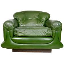 mod overstuffed green leather lounge chair at 1stdibs