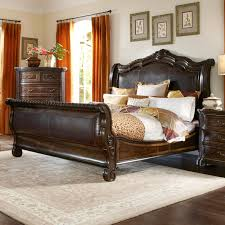 Valencia Bedroom Set Living Spaces A R T Furniture Valencia Leather Upholstered Sleigh Bed Hayneedle
